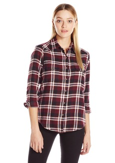 RVCA Junior's Jig Button up Flannel Plaid Shirt