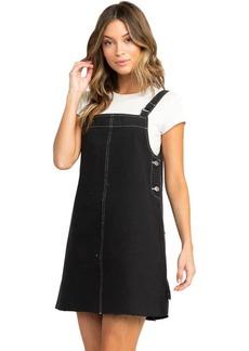 RVCA Junior's NEO Pinny Denim Dress  L