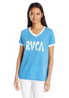 RVCA Junior's Psych Script Ringer V-Neck T-Shirt  S