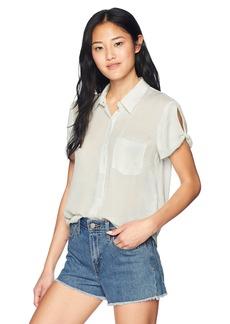 RVCA Junior's SKYTOWN Short Sleeve Woven Button Down Shirt  S