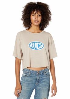 RVCA Junior's Slacker Cropped Short Sleeve Crew Neck T-Shirt  M