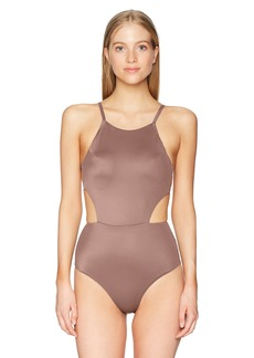 RVCA Junior's Solid One Piece Swimsuit  L