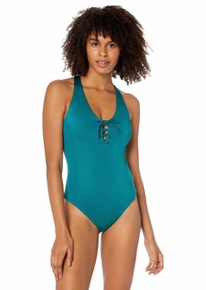 RVCA Women's Solid Shimmer Lace-Up One Piece Swimsuit
