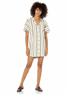 RVCA Women Storm Oversized Shirt Dress Green M/10