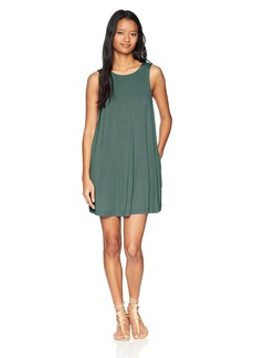 RVCA Junior's Tempted Swing Dress Silver/Green M