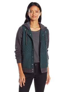 RVCA Juniors Unlabel Fleece Hooded Quilted Puffer Jacket  Large