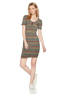 RVCA Junior's Zip It Scoop Neck Dress  L