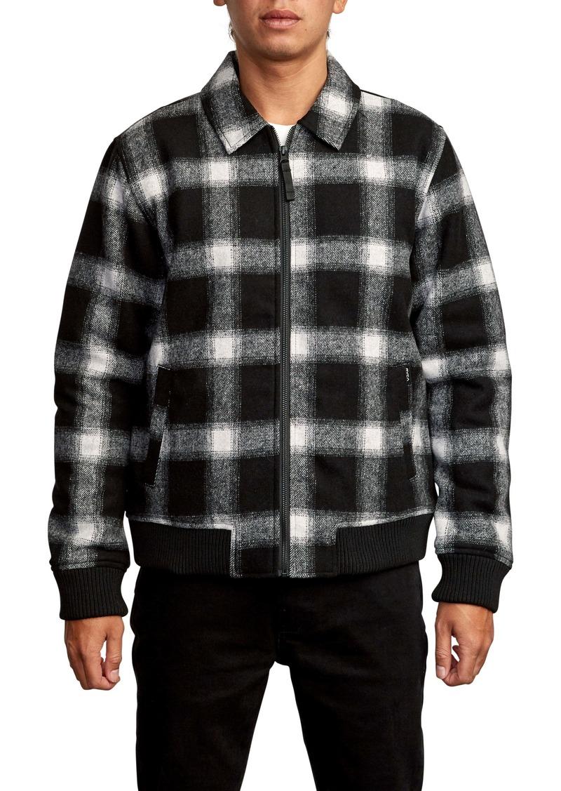RVCA Kickin Plaid Flannel Bomber Jacket