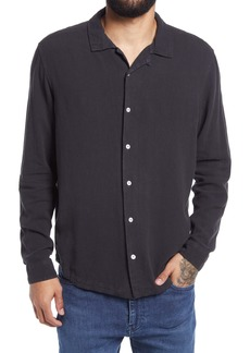 RVCA Men's Beat Custom Fit Button-Up Linen Blend Shirt
