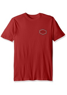 RVCA Men's Double HEX Short Sleeve T-Shirt Chinese red L