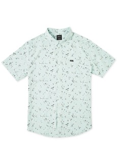 Rvca Men's Floral Micro Print Short Sleeve Woven