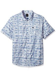 RVCA Men's Flower Block Sleeve Woven Button Down Shirt  M