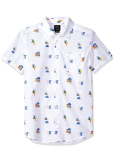 RVCA Men's Margo Short Sleeve Woven Button Down Shirt  XL