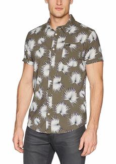RVCA Men's Palms Short Sleeve Woven Button UP Shirt  L