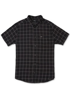 Rvca Men's Slim-Fit Pain Killer Windowpane Plaid Short Sleeve Shirt
