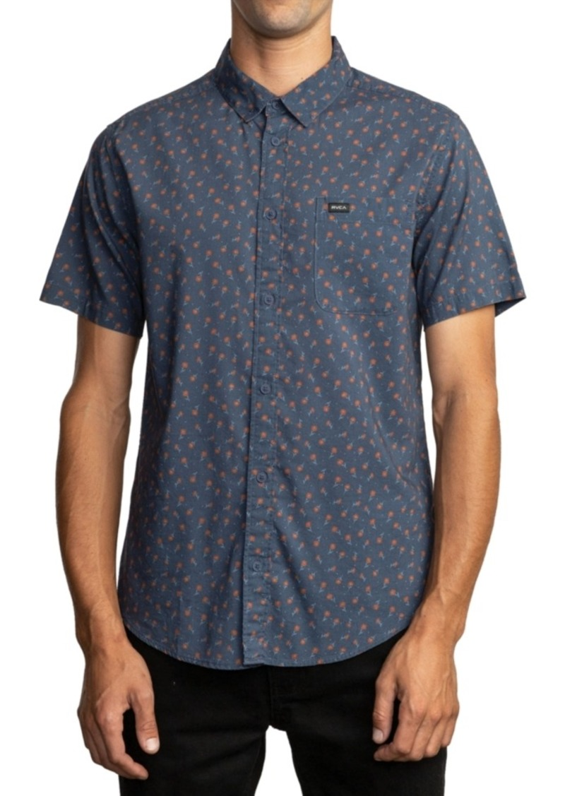 Rvca Men's Slim-Fit Prelude Floral Short Sleeve Shirt