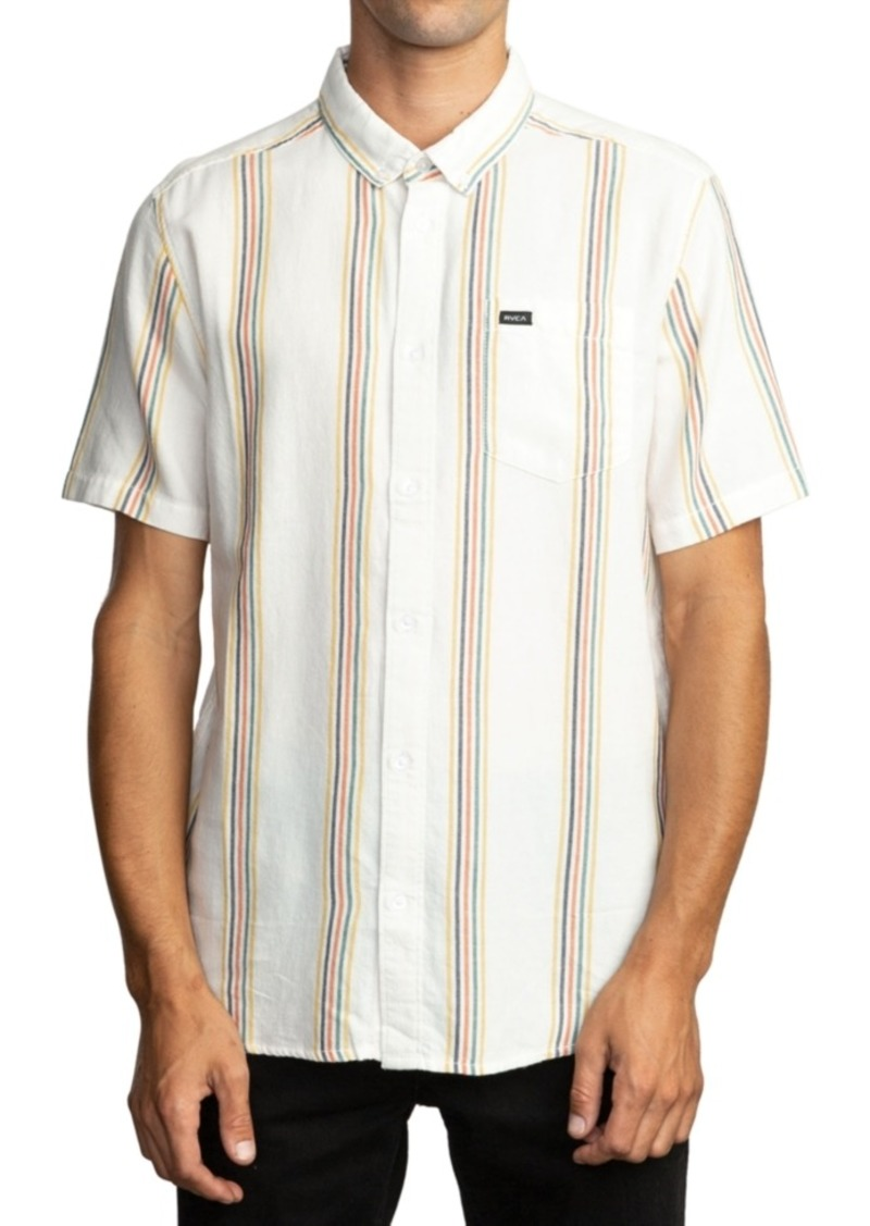 Rvca Men's Split Stripe Short Sleeve Shirt