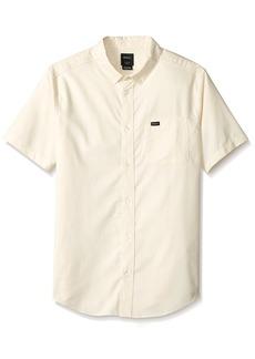 RVCA Men's Thatll DO Stretch Short Sleeve Woven Button UP Shirt dust Yellow M