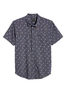 RVCA Monkberry Floral Print Short Sleeve Button-Up Shirt