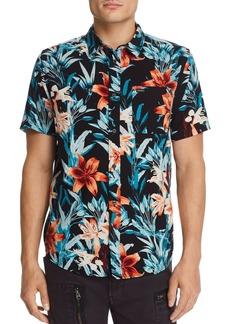 RVCA Montague Short-Sleeve Floral-Print Slim Fit Shirt