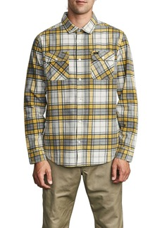 RVCA Panhandle Plaid Long Sleeve Flannel Button-Up Shirt