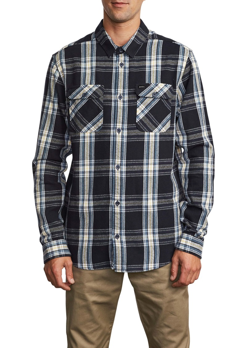 RVCA Reverberation Plaid Button-Up Flannel Shirt