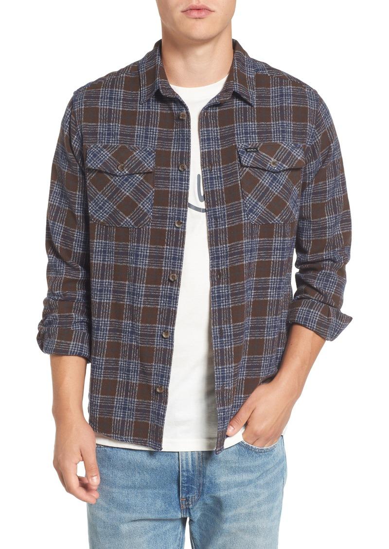 Rvca rvca 39 that 39 ll work 39 trim fit plaid flannel shirt for Athletic cut flannel shirts