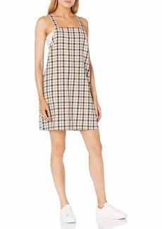 RVCA Women Allen Plaid Dress Brown