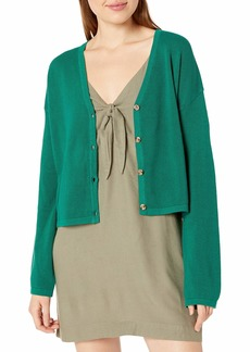 RVCA Women Authority Knit Button-Up Cardigan Green XL/14