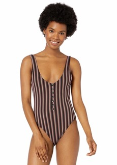 RVCA Women Bandit Striped Cheeky One Piece Swimsuit