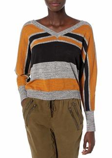 RVCA Women Carter Striped Sweater Brown