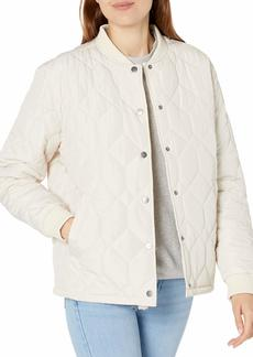 RVCA Junior's Downtown Quilted Bomber Jacket OATMEAL L