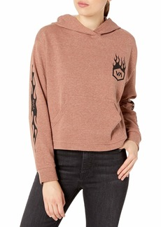 RVCA Junior's Forged Hooded Fleece Pullover Sweatshirt  L