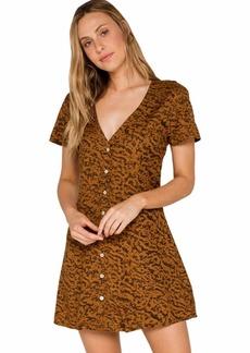 RVCA Women Guilt Button-Up Dress Brown