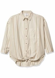 RVCA womens Habit Woven Long Sleeve Front Button Down Shirt   US