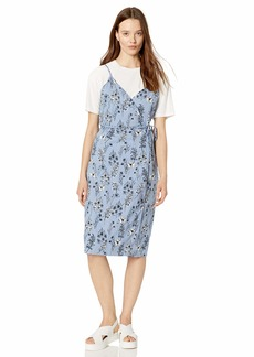 RVCA Women Kioko Floral Midi Wrap Dress Blue XL/14