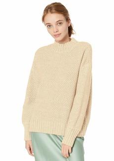 RVCA Women Volt Knit Mock Neck Sweater Brown L/12