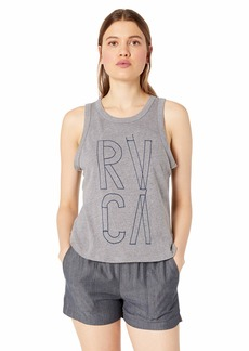 RVCA Women's Blueprint Fitted Loose Knit Crew Neck Tank TOP  XL