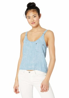 RVCA Womens Collector Boxy FIT Tank TOP chambray S