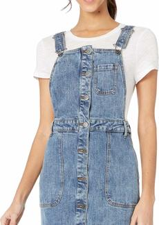 RVCA Women's Conquer Fitted Dungaree Dress  Blue M