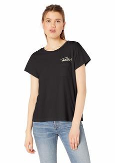 RVCA Women's Fast Script Short Sleeve Crew Neck Pocket T-Shirt  S