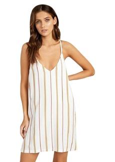 RVCA womens FLUKE Stripe Swing Dress off off white S