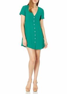 RVCA Women Guilt Button-Up Dress Green