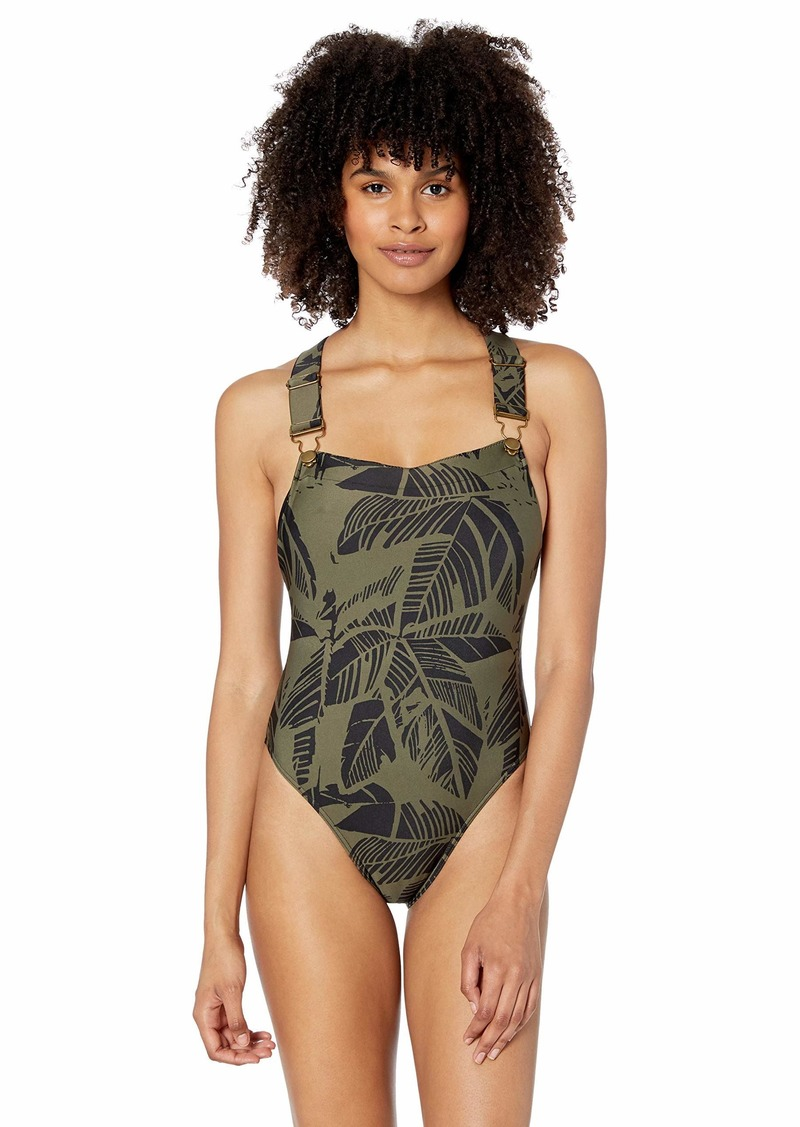RVCA womens Harlo Onepiece Overall Swimsuit  M