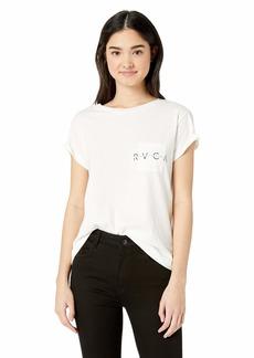RVCA Women's Inset Short Sleeve Crew Neck Pocket T-Shirt  L
