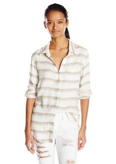 RVCA Junior's Keeper Long Sleeve Button up Stripe Shirt