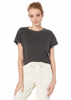 RVCA Womens Label Cuff Cru Short Sleeve Crew Neck T-Shirt  L