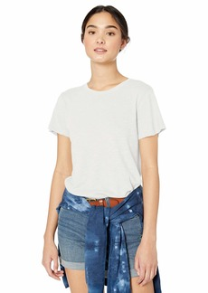 RVCA womens Label Short Sleeve Crew Neck Baby T-Shirt off off white L