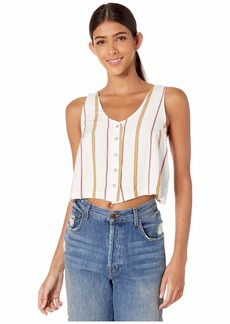 RVCA womens Note to SELF Woven Cropped Tank off off white S