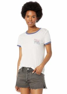 RVCA Womens Offset Short Sleeve Ringer T-Shirt off off white M